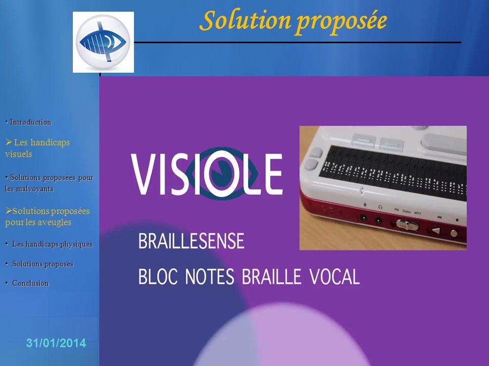 Solution proposée 11 31/01/2014 Les handicaps visuels