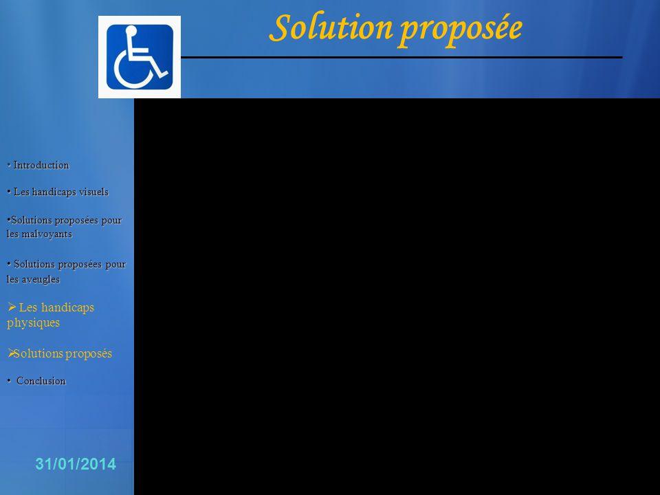 Solution proposée 16 31/01/2014 Les handicaps physiques