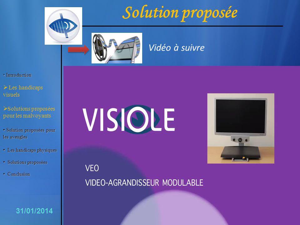 Solution proposée Vidéo à suivre 6 31/01/2014 Les handicaps visuels