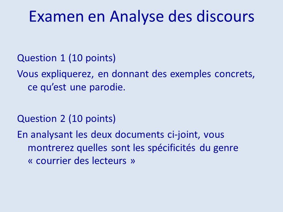 Examen en Analyse des discours