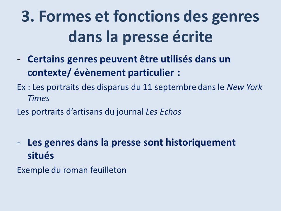 3. Formes et fonctions des genres dans la presse écrite