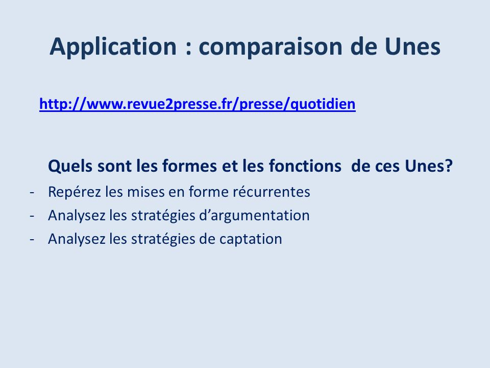 Application : comparaison de Unes