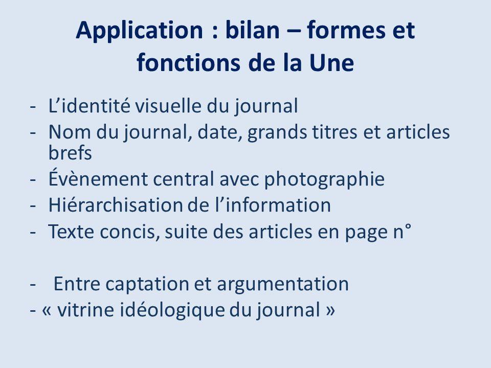 Application : bilan – formes et fonctions de la Une