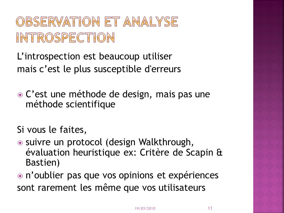 Observation et analyse introspection