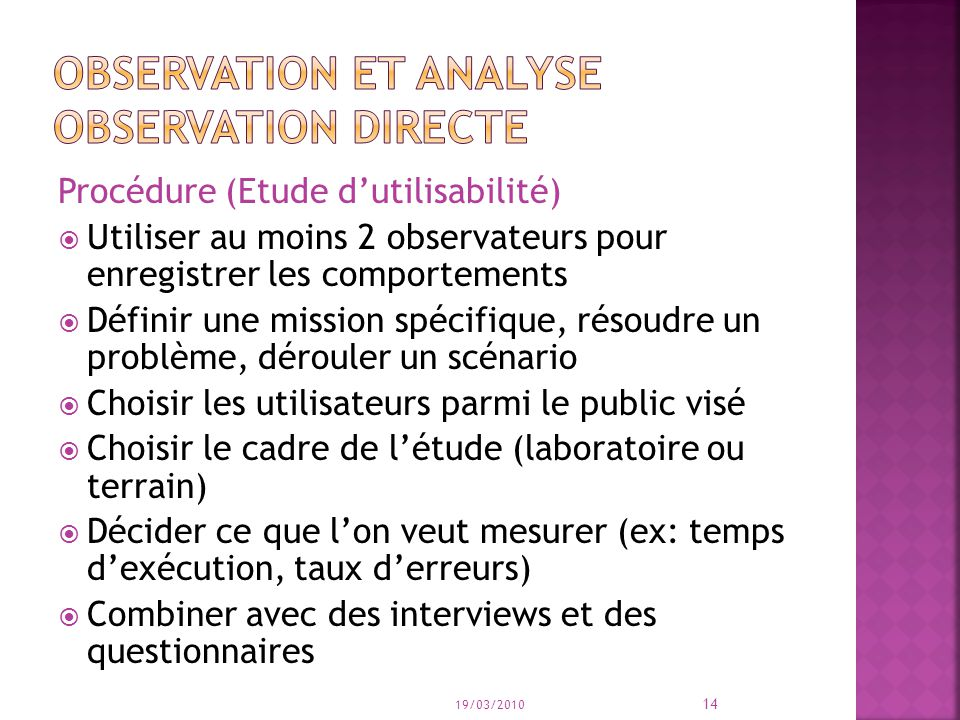Observation et analyse observation directe