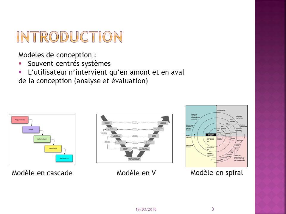 introduction Modèles de conception : Souvent centrés systèmes