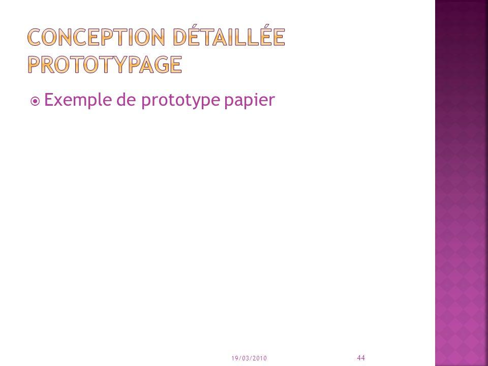 Conception détaillée prototypage