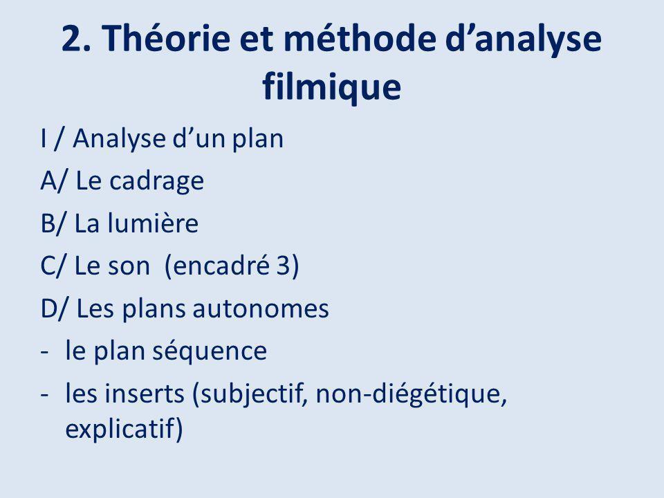 2. Théorie et méthode d'analyse filmique