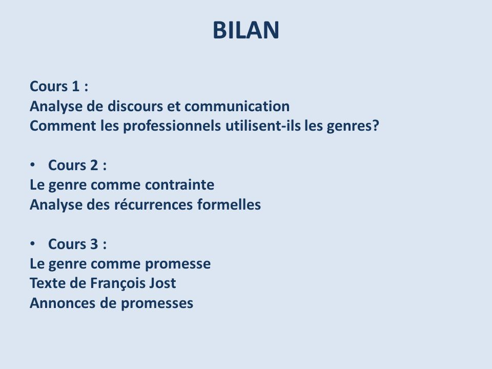 BILAN Cours 1 : Analyse de discours et communication