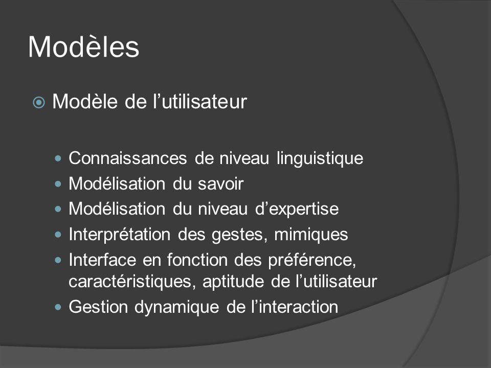 Modèles Modèle de l'utilisateur Connaissances de niveau linguistique