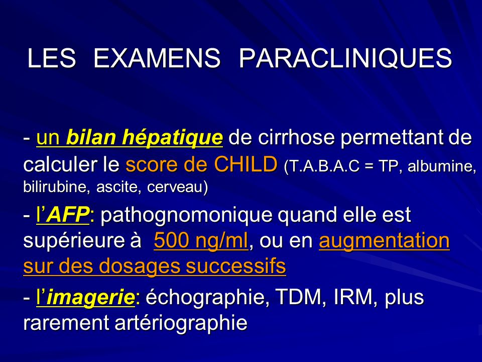 LES EXAMENS PARACLINIQUES