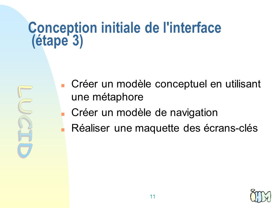 Conception initiale de l interface (étape 3)‏