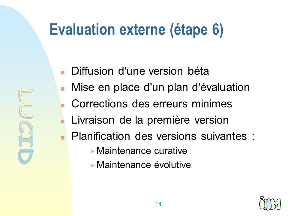 Evaluation externe (étape 6)
