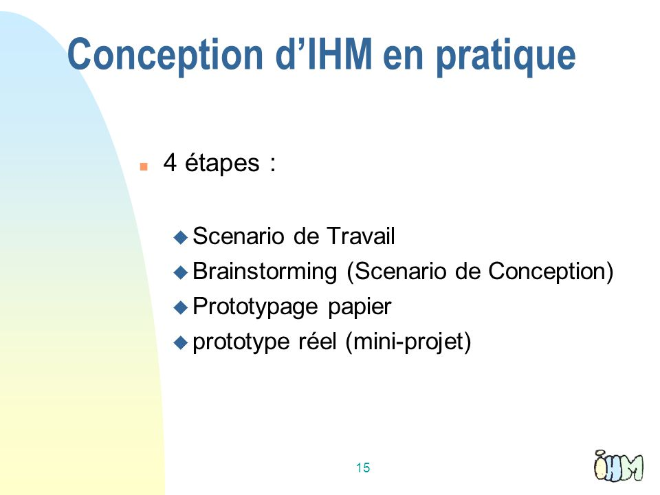 Conception d'IHM en pratique