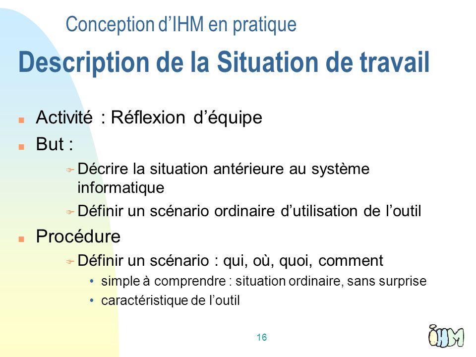 Conception d'IHM en pratique Description de la Situation de travail