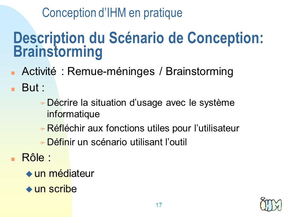 Conception d'IHM en pratique Description du Scénario de Conception: Brainstorming