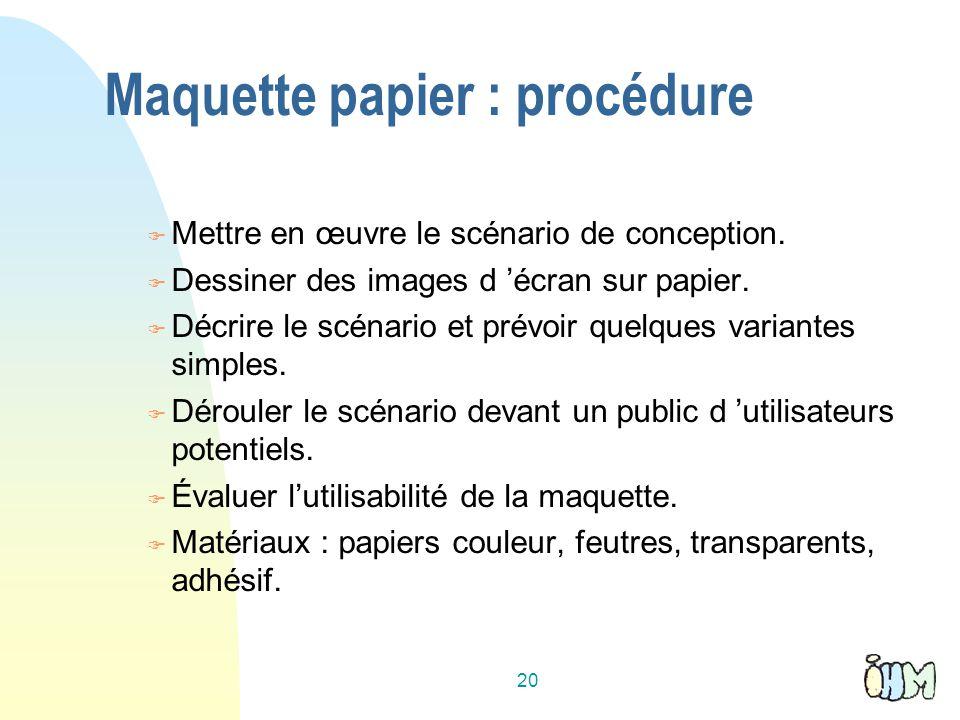Maquette papier : procédure