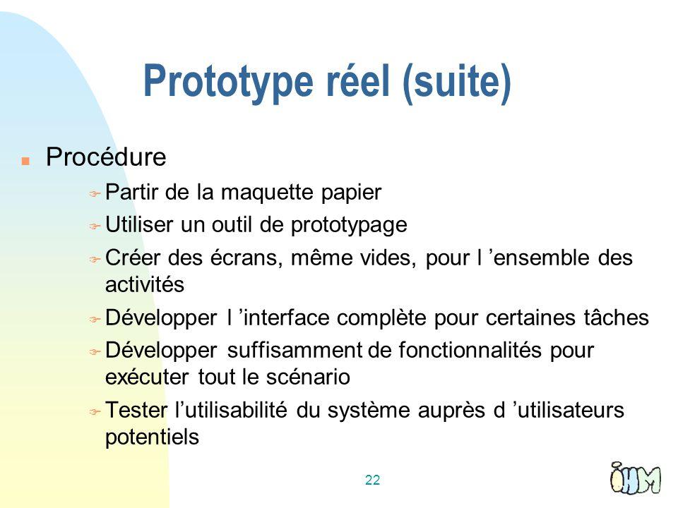 Prototype réel (suite)