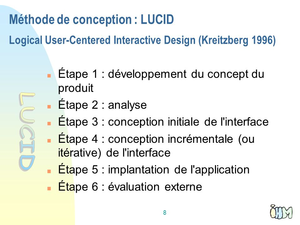 Méthode de conception : LUCID Logical User-Centered Interactive Design (Kreitzberg 1996)‏