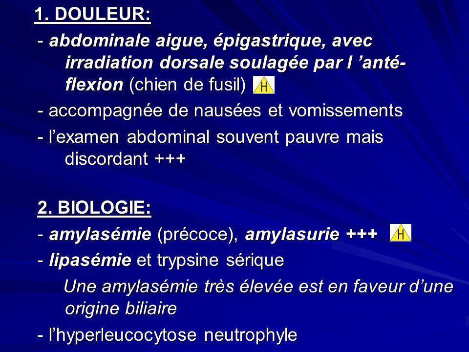 1. DOULEUR: - abdominale aigue, épigastrique, avec irradiation dorsale soulagée par l 'anté-flexion (chien de fusil)