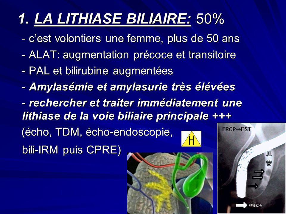 LA LITHIASE BILIAIRE: 50%