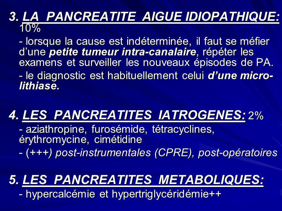 3. LA PANCREATITE AIGUE IDIOPATHIQUE: 10%