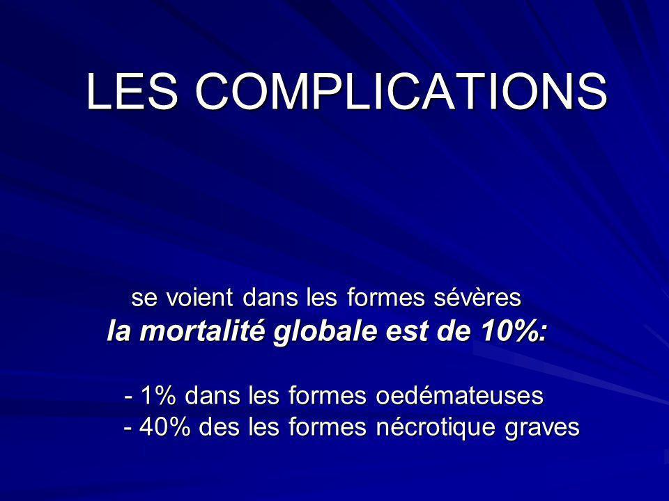 LES COMPLICATIONS se voient dans les formes sévères la mortalité globale est de 10%: - 1% dans les formes oedémateuses - 40% des les formes nécrotique graves
