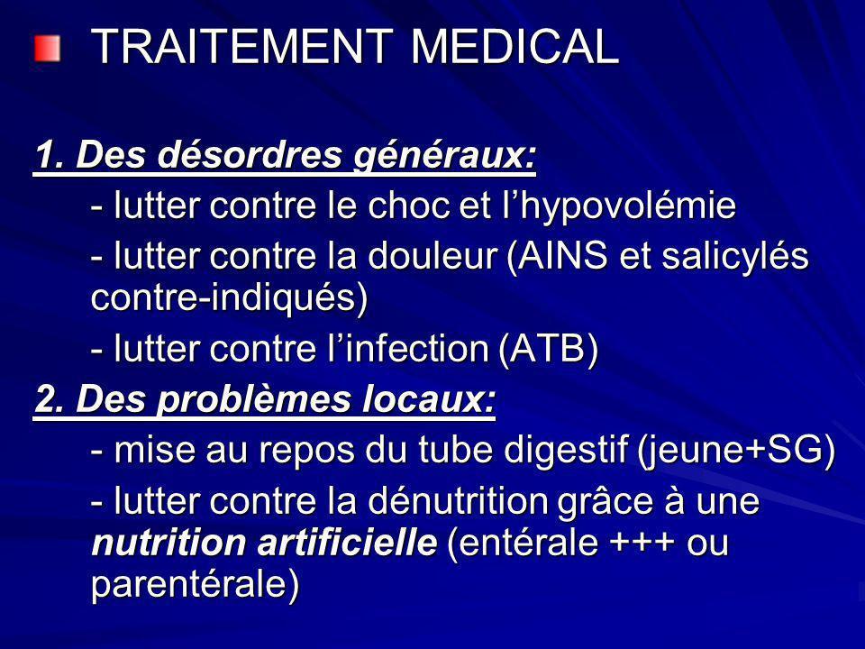 TRAITEMENT MEDICAL 1. Des désordres généraux: