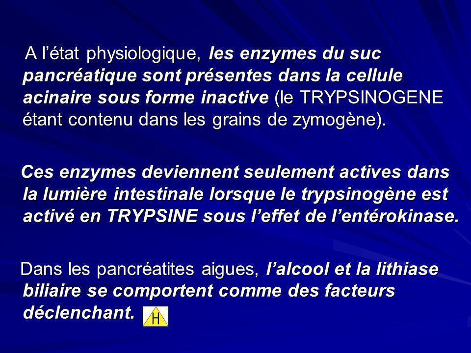 A l'état physiologique, les enzymes du suc pancréatique sont présentes dans la cellule acinaire sous forme inactive (le TRYPSINOGENE étant contenu dans les grains de zymogène).