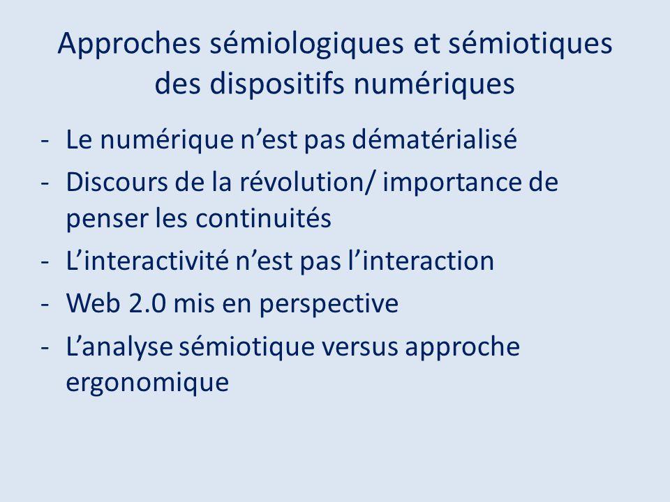 Approches sémiologiques et sémiotiques des dispositifs numériques