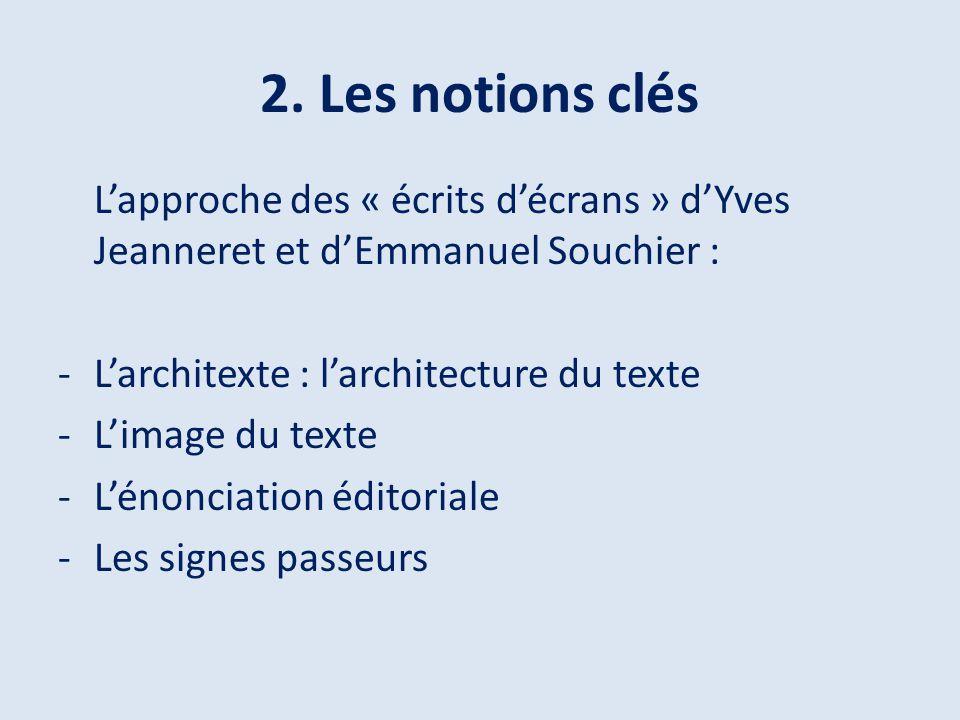 2. Les notions clés L'approche des « écrits d'écrans » d'Yves Jeanneret et d'Emmanuel Souchier : L'architexte : l'architecture du texte.