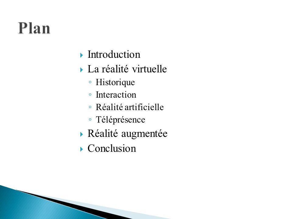Plan Introduction La réalité virtuelle Réalité augmentée Conclusion