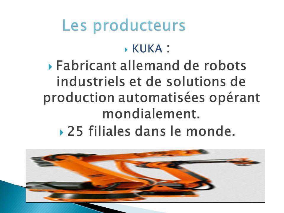 Les producteurs KUKA : Fabricant allemand de robots industriels et de solutions de production automatisées opérant mondialement.