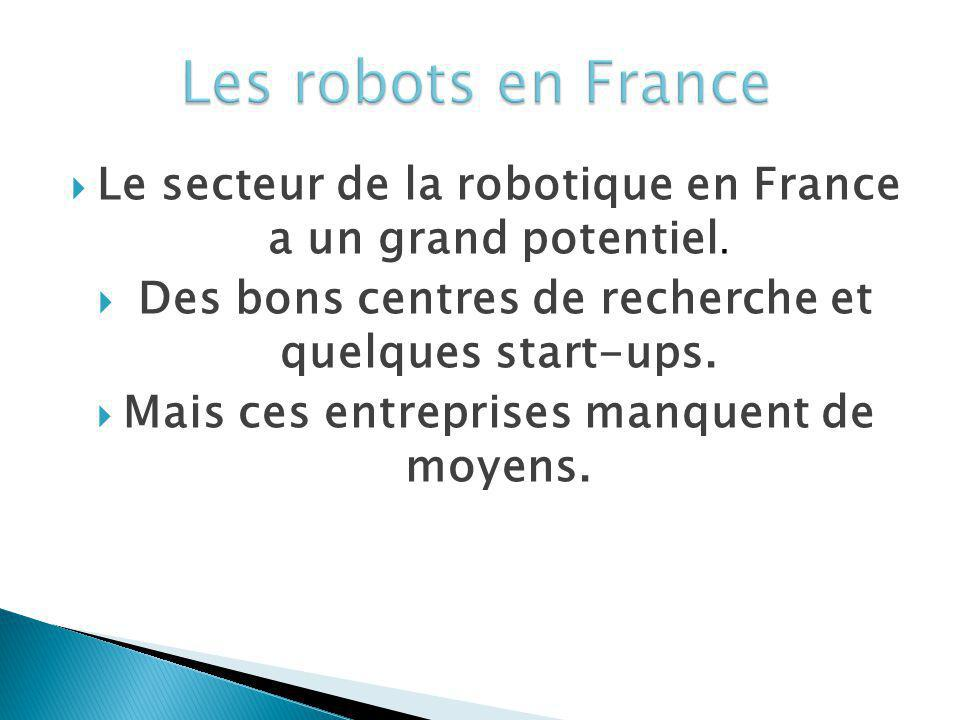 Les robots en France Le secteur de la robotique en France a un grand potentiel. Des bons centres de recherche et quelques start-ups.