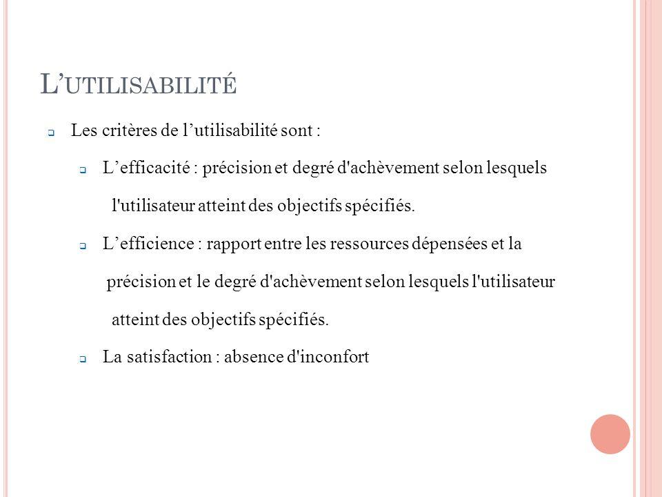 L'utilisabilité Les critères de l'utilisabilité sont :