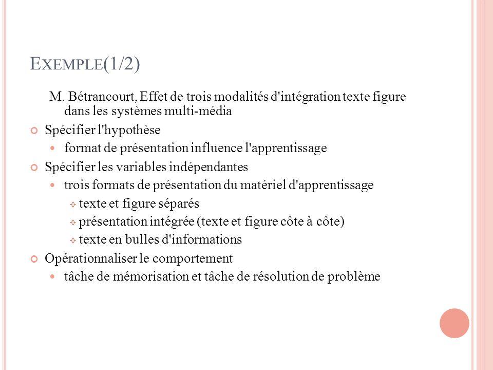 Exemple(1/2) M. Bétrancourt, Effet de trois modalités d intégration texte figure dans les systèmes multi-média.