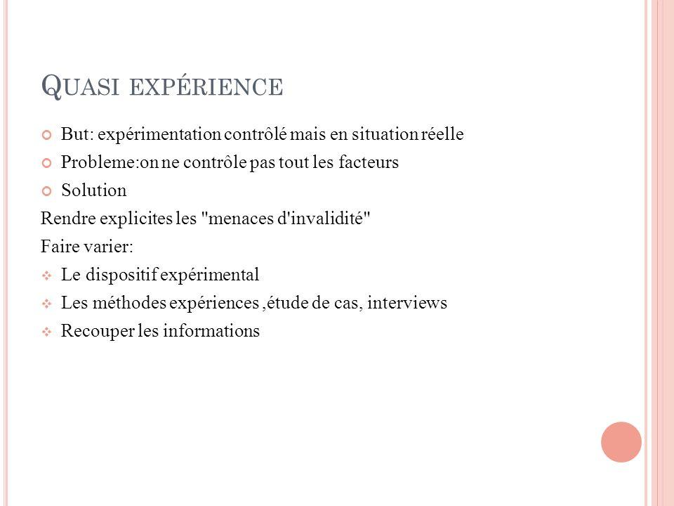 Quasi expérience But: expérimentation contrôlé mais en situation réelle. Probleme:on ne contrôle pas tout les facteurs.