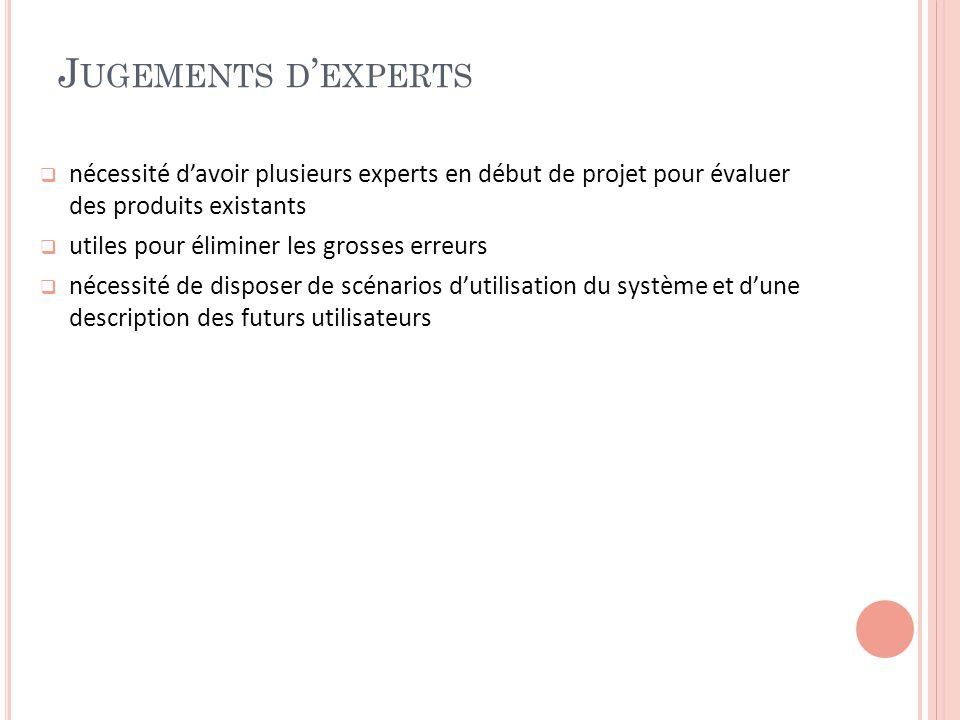 Jugements d'experts nécessité d'avoir plusieurs experts en début de projet pour évaluer des produits existants.