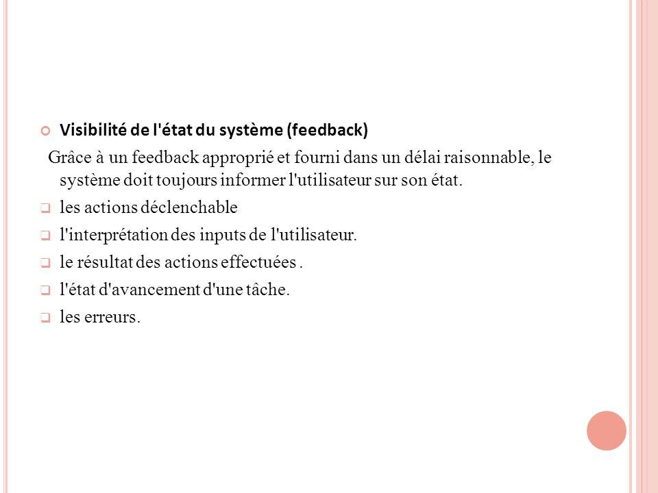 Visibilité de l état du système (feedback)