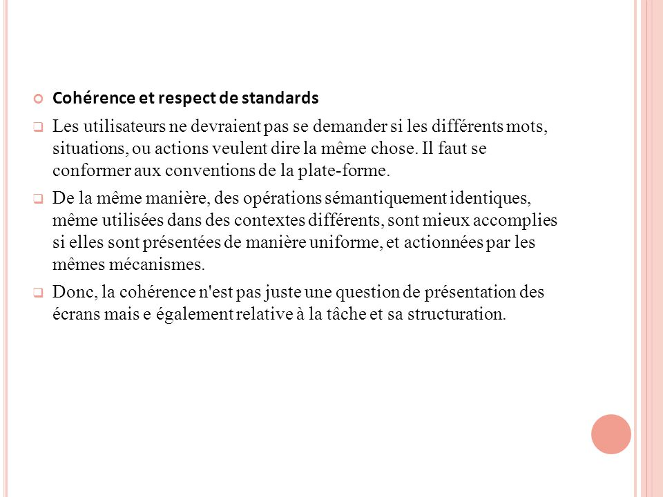 Cohérence et respect de standards