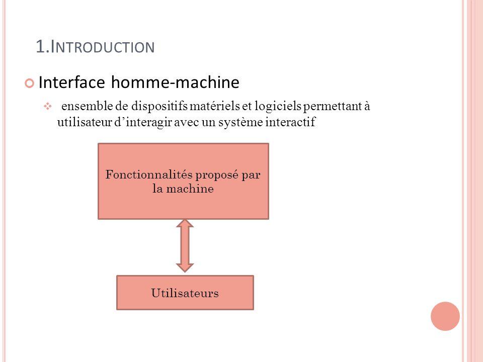 Fonctionnalités proposé par la machine