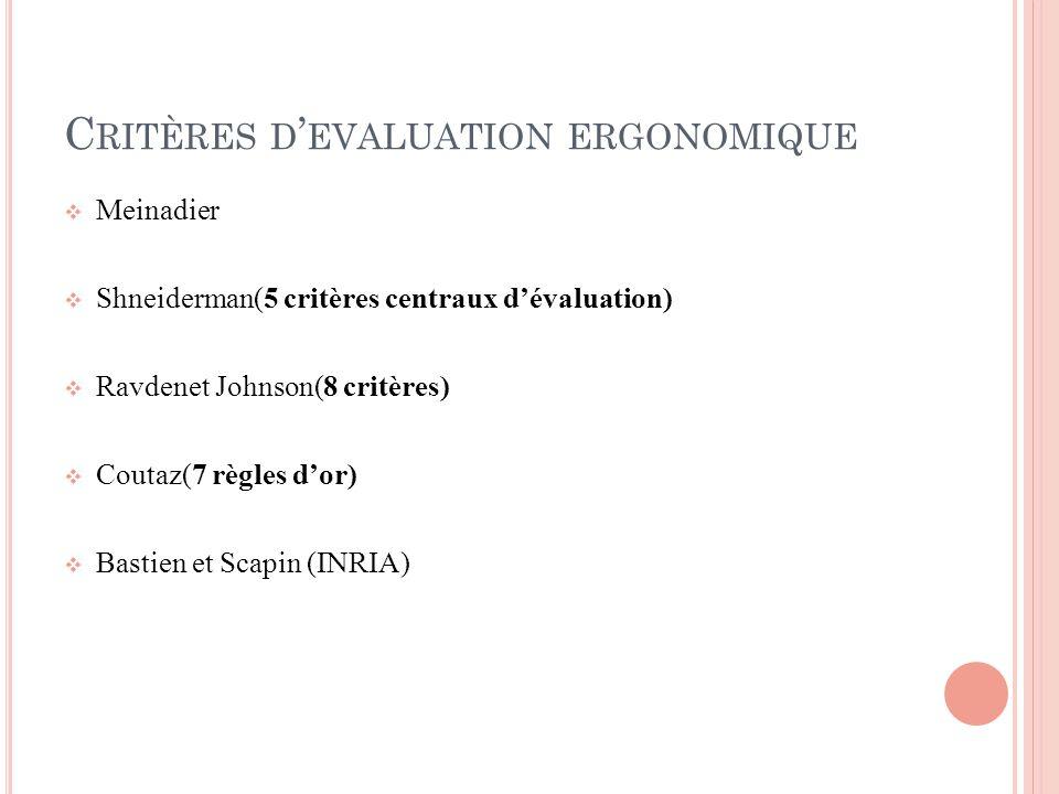 Critères d'evaluation ergonomique