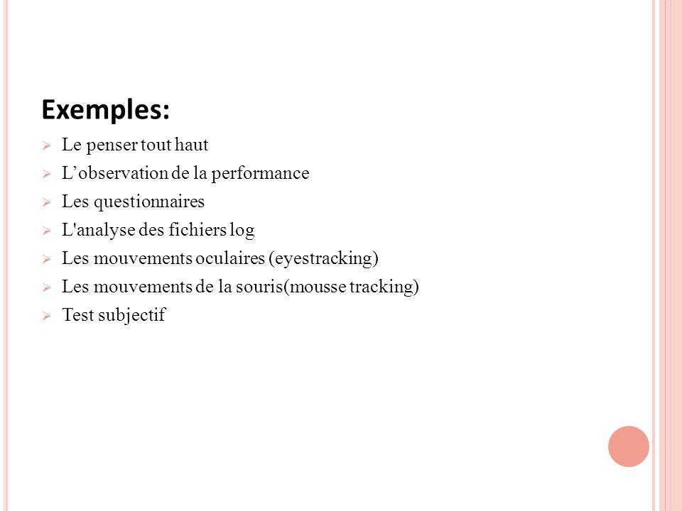 Exemples: Le penser tout haut L'observation de la performance