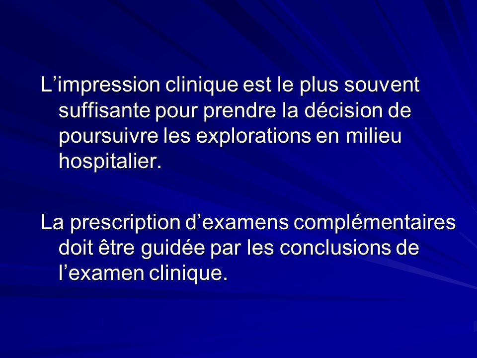 L'impression clinique est le plus souvent suffisante pour prendre la décision de poursuivre les explorations en milieu hospitalier.