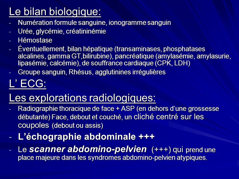 Les explorations radiologiques: