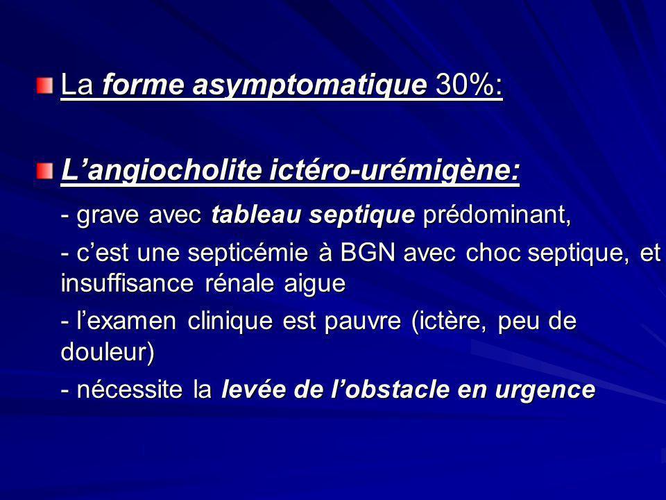 La forme asymptomatique 30%: L'angiocholite ictéro-urémigène: