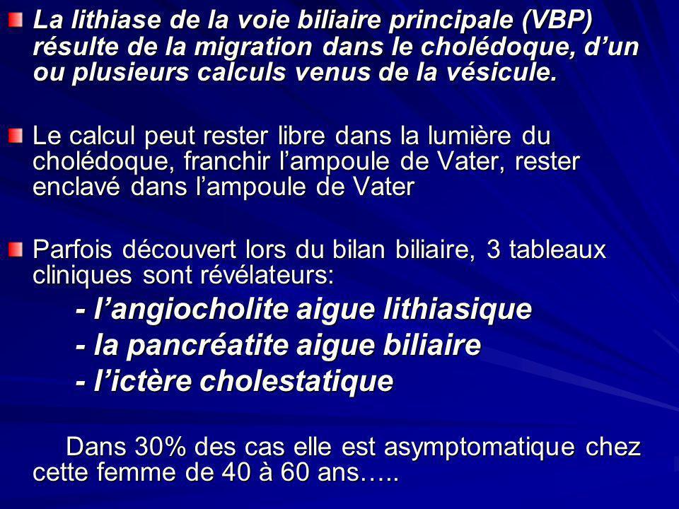 - la pancréatite aigue biliaire - l'ictère cholestatique