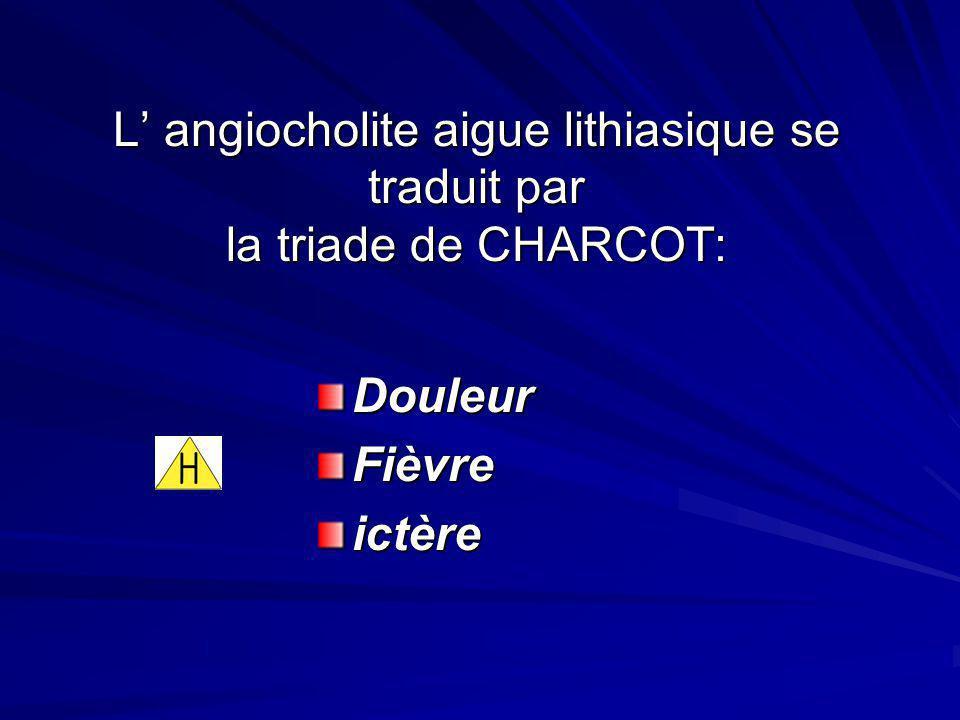 L' angiocholite aigue lithiasique se traduit par la triade de CHARCOT: