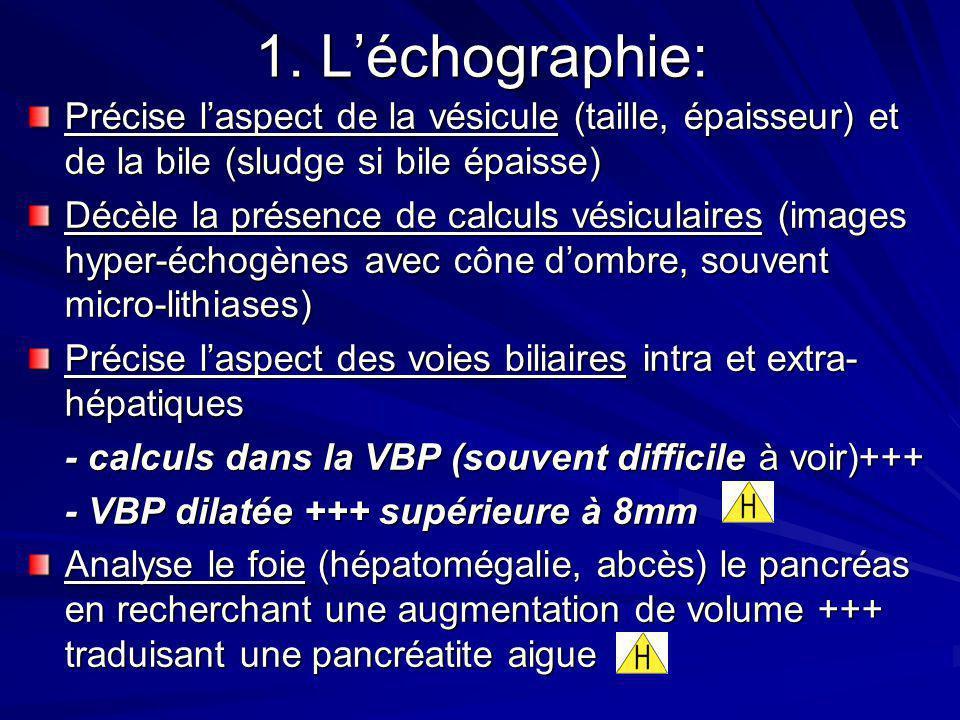 1. L'échographie: Précise l'aspect de la vésicule (taille, épaisseur) et de la bile (sludge si bile épaisse)