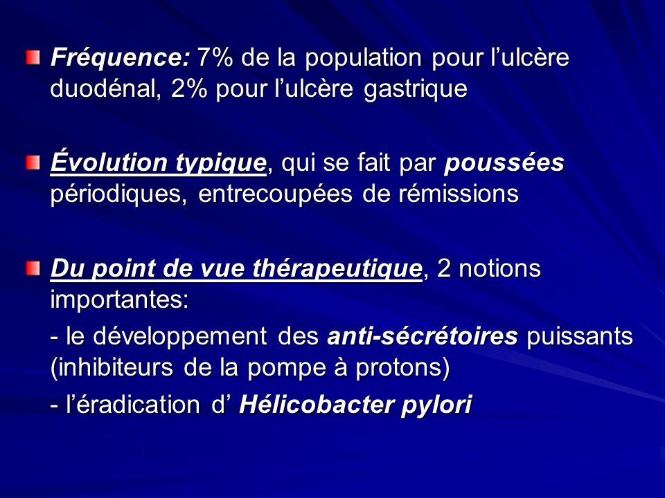 Fréquence: 7% de la population pour l'ulcère duodénal, 2% pour l'ulcère gastrique